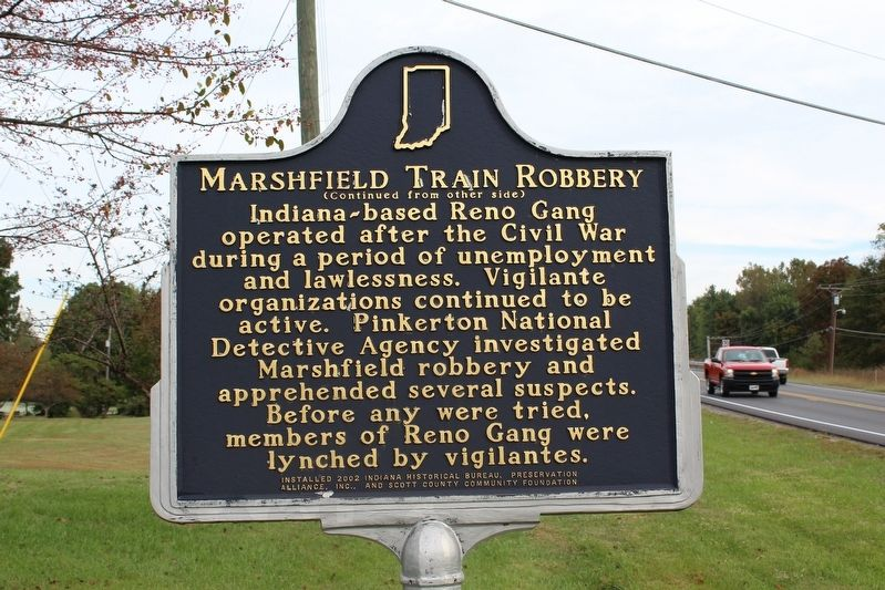 Marshfield Train Robbery Marker (Side 2) image. Click for full size.