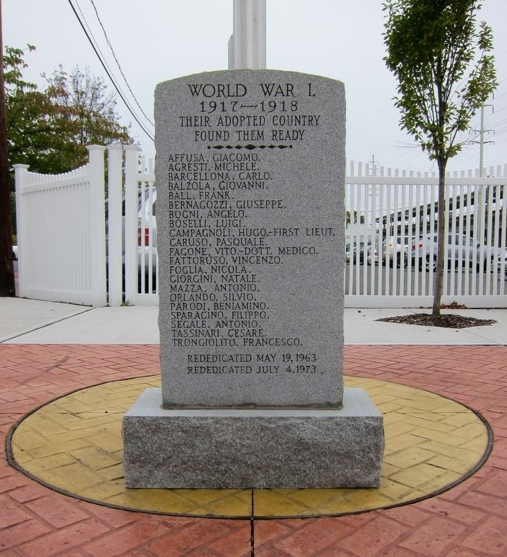 Copiague World War I Immigrant Memorial Marker - pre-2015 rededication image. Click for full size.