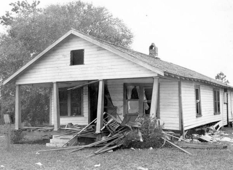 Moore home destroyed by bomb image. Click for full size.