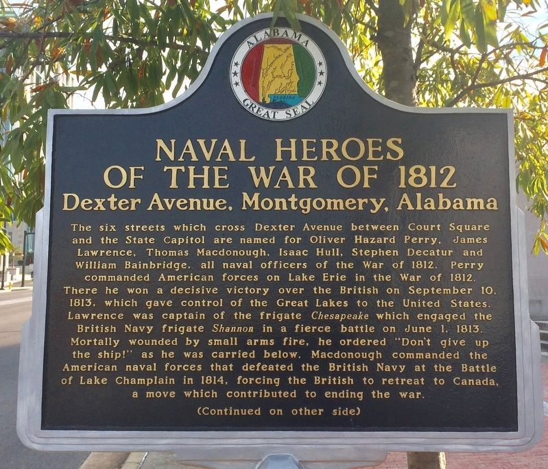 Naval Heroes of the War of 1812 Marker (Side 1) image. Click for full size.