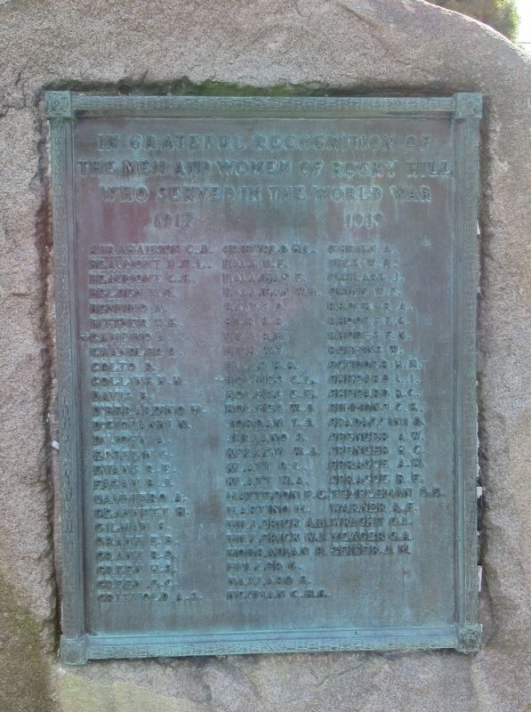 Rocky Hill World War I Monument image. Click for full size.