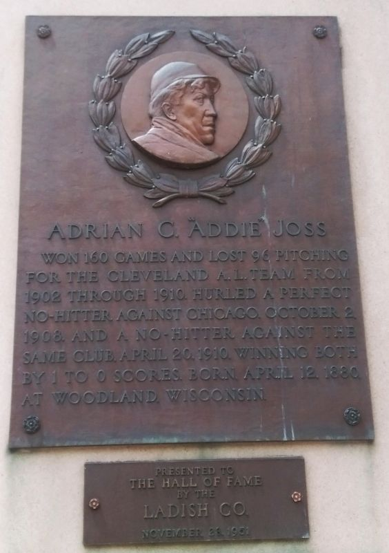 "Adrian C. ""Addie"" Joss Marker image. Click for full size."