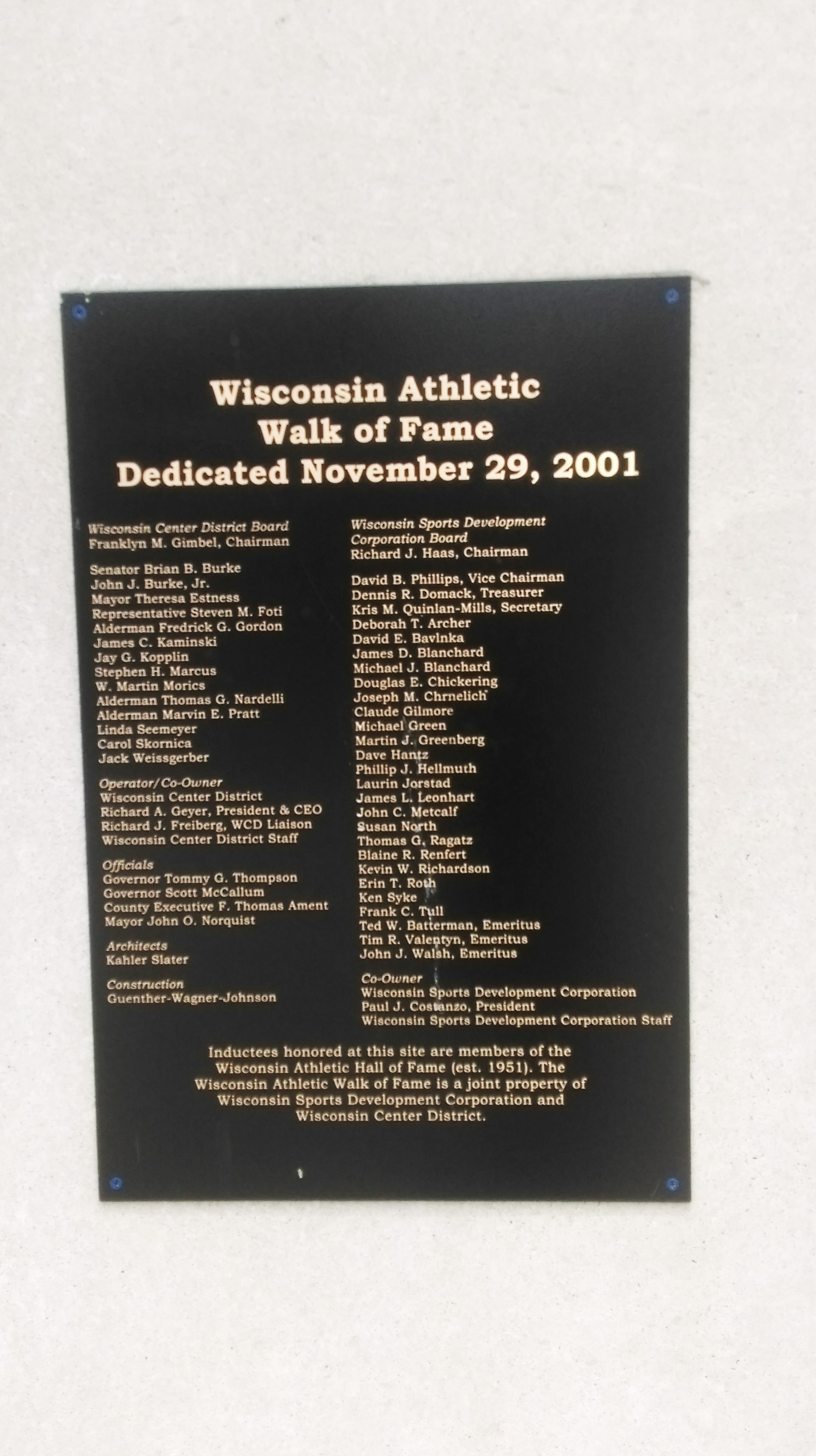 Wisconsin Athletic Hall of Fame Plaque