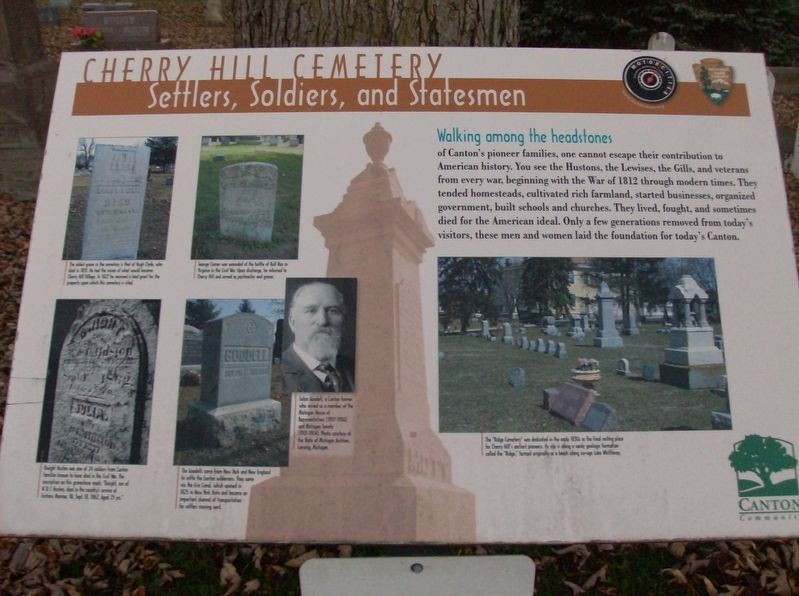 Cherry Hill Cemetery: Settlers, Soldiers, and Statesmen Marker image. Click for full size.