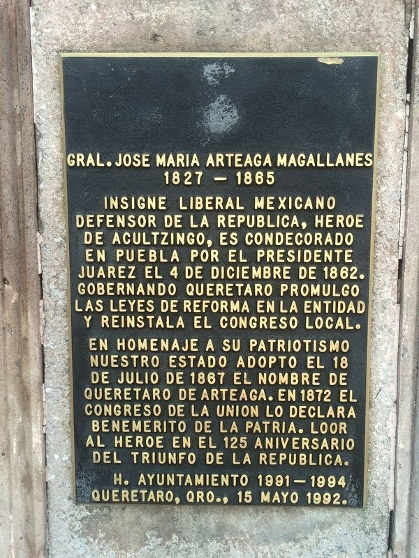 General José María Arteaga Magallanes Marker image. Click for full size.