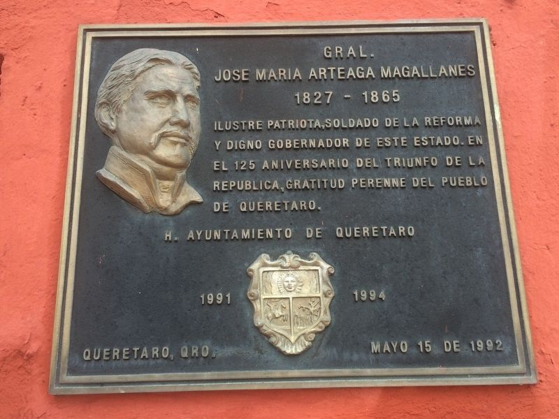 General José María Arteaga Magallanes additional marker on western cemetery wall. image. Click for full size.