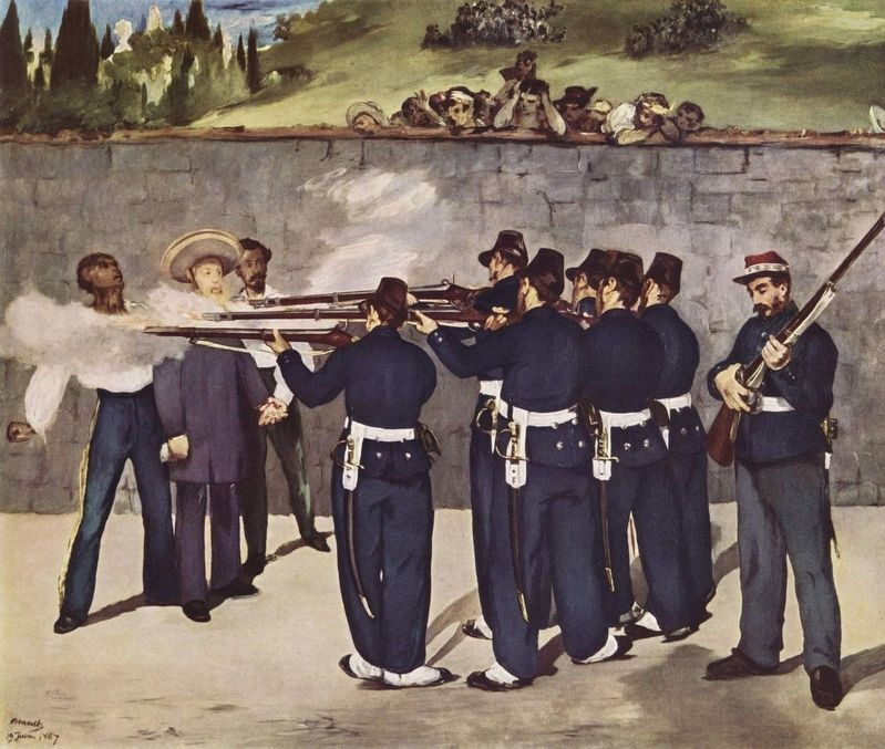 Edouard Manet's depiction of the execution of Maximilian, Tomás Mejía and Miguel Miramón. image. Click for full size.