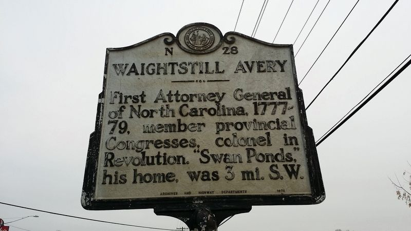 Waightstill Avery Marker image. Click for full size.