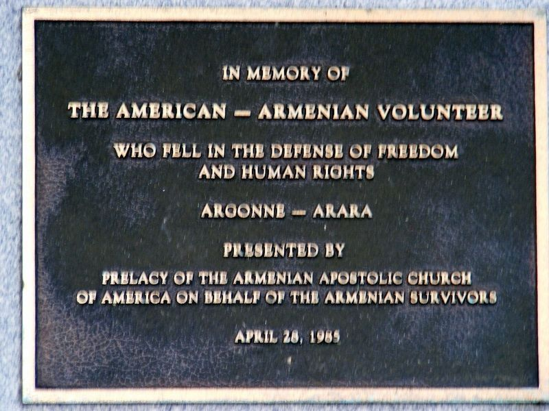 American-Armenian Volunteer Memorial image. Click for full size.