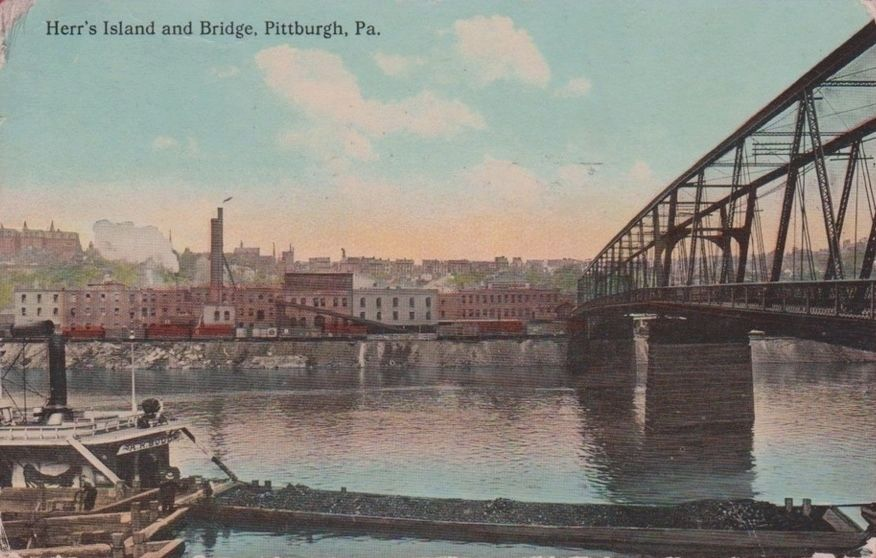 <i>Herr's Island and Bridge, Pittsburgh, Pa.</i> - Handcolored Postcard View image. Click for full size.