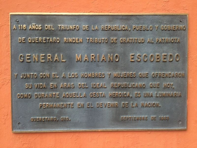 General Mariano Escobedo Marker image. Click for full size.