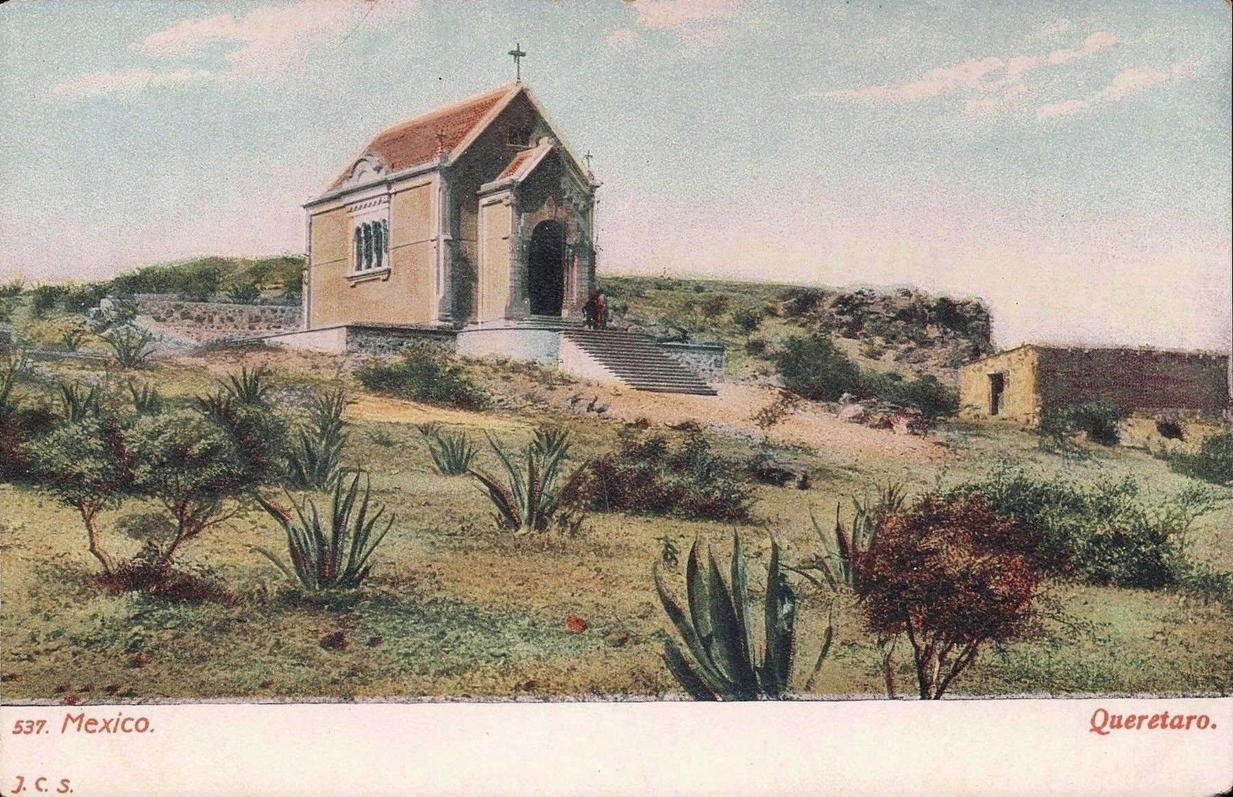 The Maximilian Chapel built in 1900, mentioned in the marker text - Postcard View image. Click for full size.