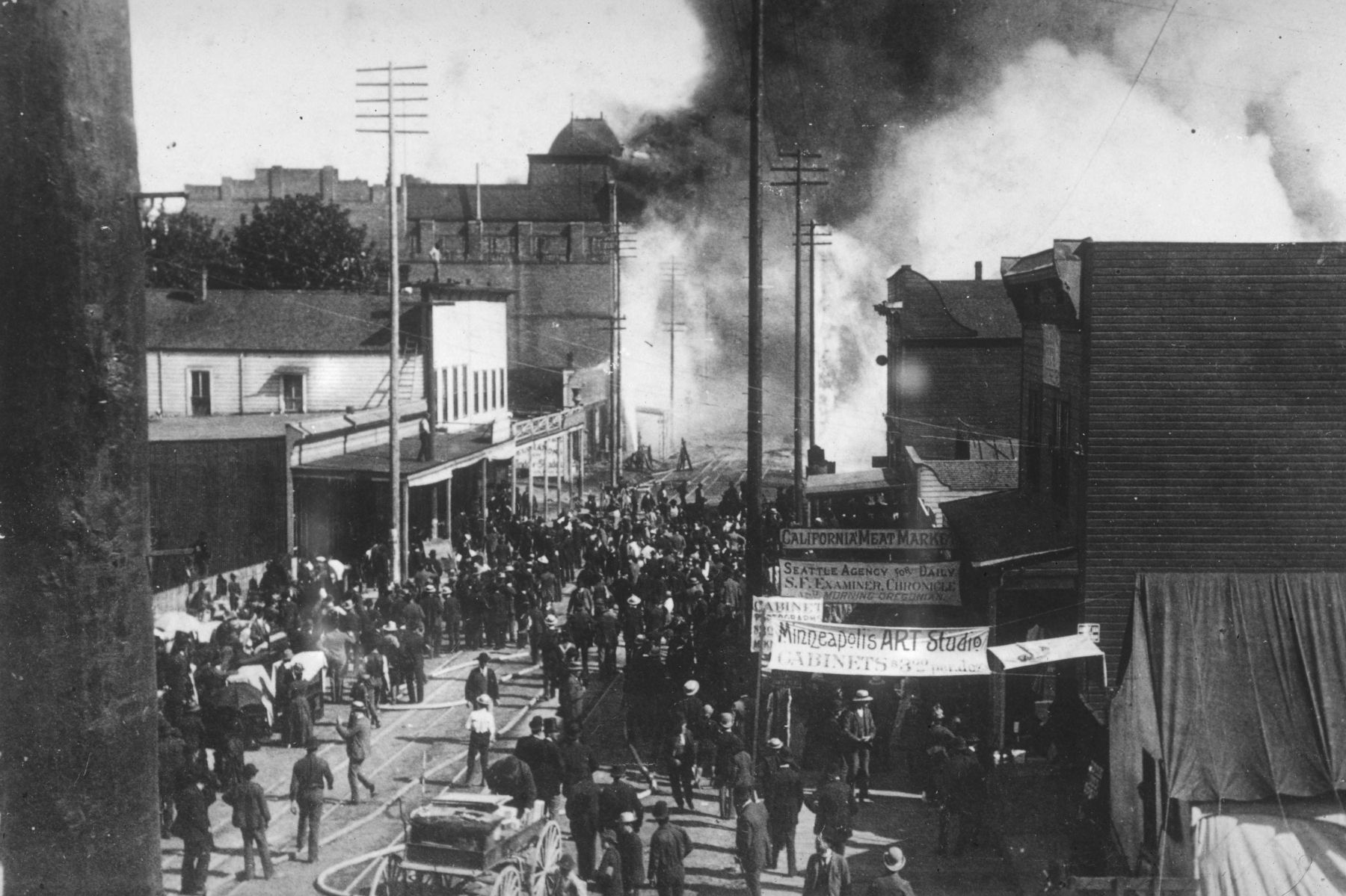 Seattle&#39;s <i>Great Fire 1889 - Looking south down Front Street (now 1st Avenue) from Spring Street</i> image. Click for full size.