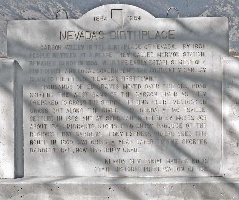 Nevada's Birthplace Marker image. Click for full size.
