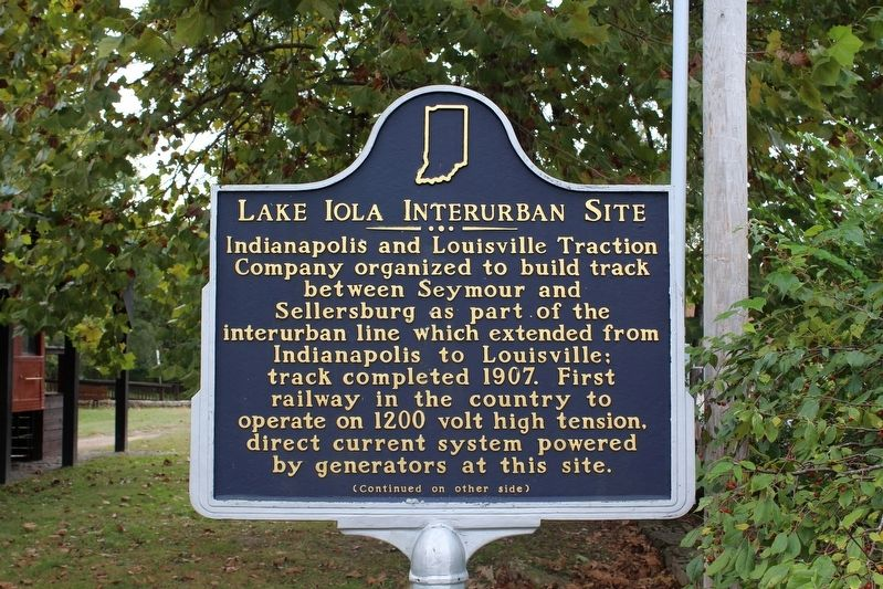 Lake Iola Interurban Site Marker (Side 1) image. Click for full size.