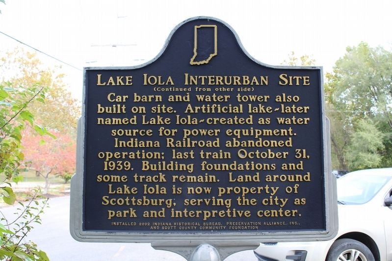 Lake Iola Interurban Site Marker (Side 2) image. Click for full size.