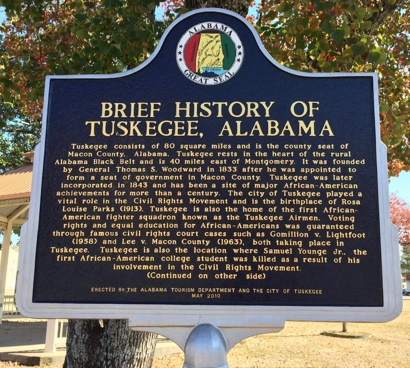 Brief History of Tuskegee, Alabama Marker (Front) image. Click for full size.