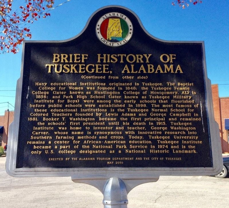 Brief History of Tuskegee, Alabama Marker (Reverse) image. Click for full size.