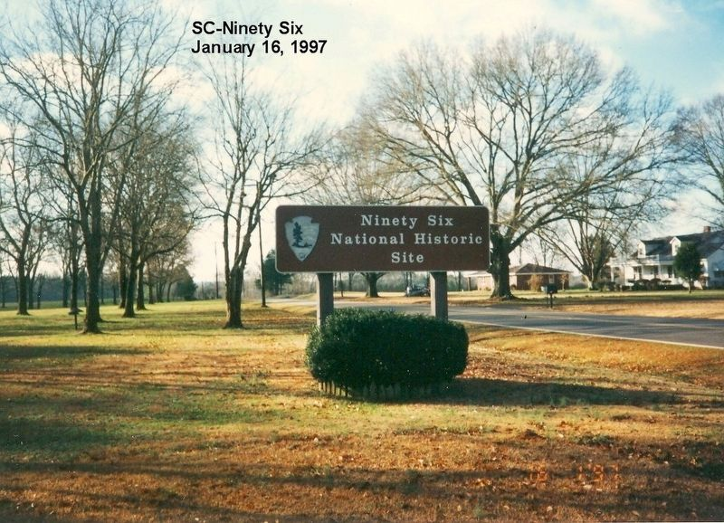 Sign at the entrance to Ninety Six National Historic Site image. Click for full size.