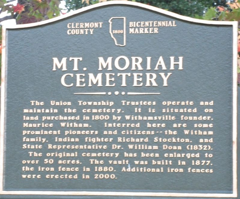Mt. Moriah Cemetery Marker image. Click for full size.