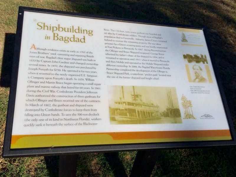 "A different nearby ""Shipbuilding in Bagdad"" Marker located in same park. image. Click for full size."