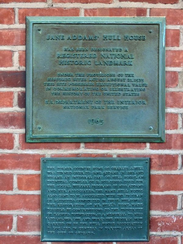 Jane Addams' Hull House Marker image. Click for full size.