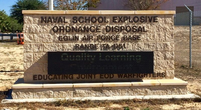 Naval School Explosive Ordnance Disposal Range D-51 entrance sign. image. Click for full size.