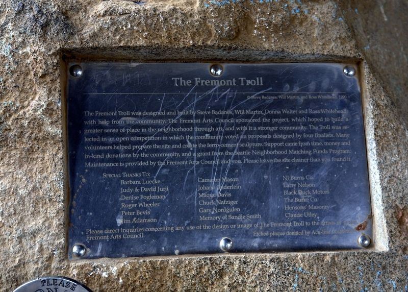 The Fremont Troll Marker image. Click for full size.