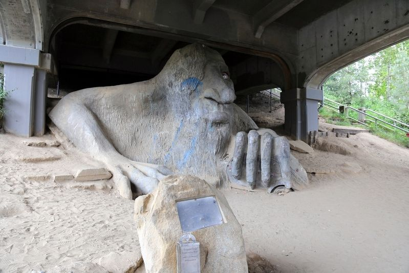 The Fremont Troll and Marker image. Click for full size.
