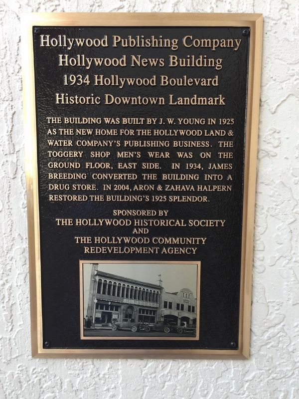 Hollywood Publishing Company/Hollywood News Building Marker image. Click for full size.
