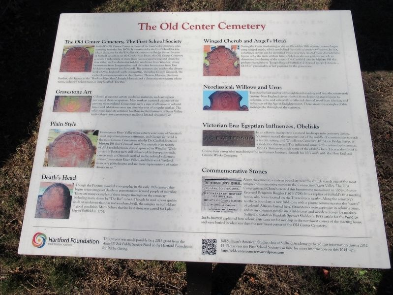 The Old Center Cemetery Marker image. Click for full size.