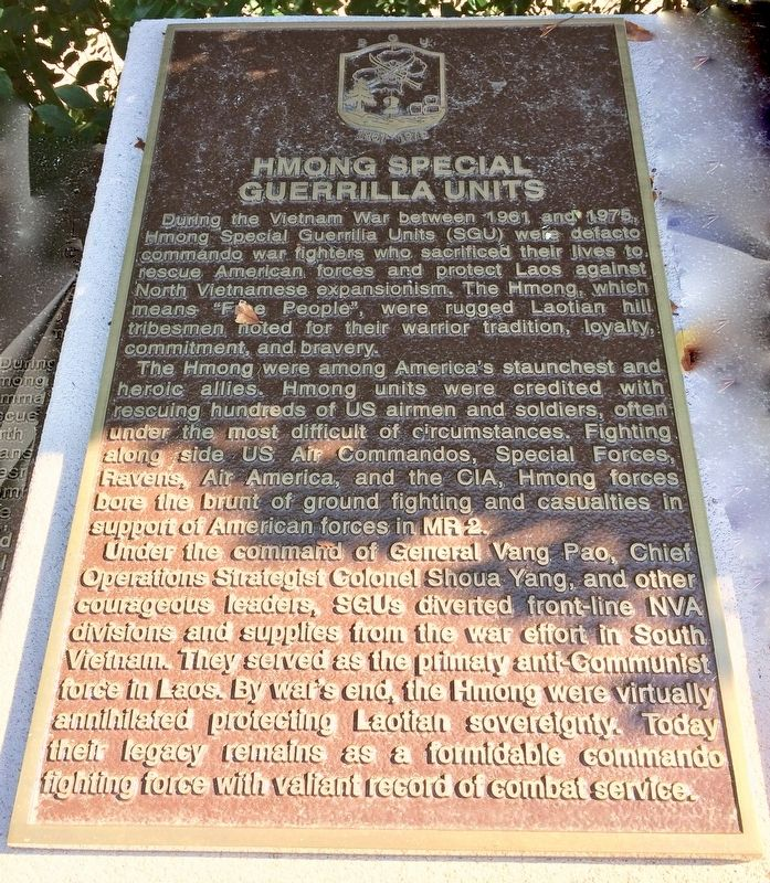Hmong Special Guerrilla Units Historical Marker