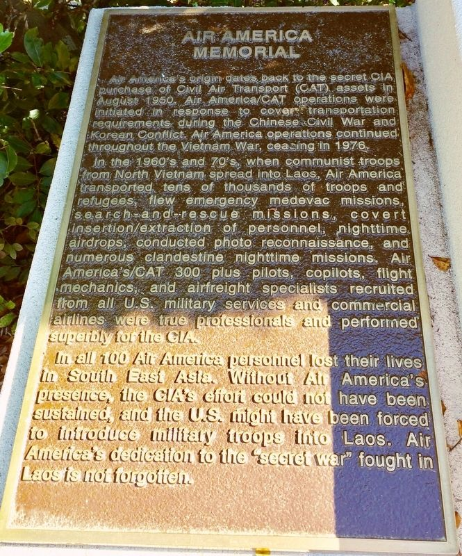 Air America Memorial Marker image. Click for full size.