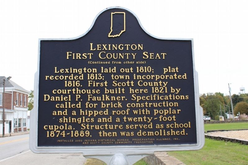 Lexington First County Seat Marker (Side 2) image. Click for full size.