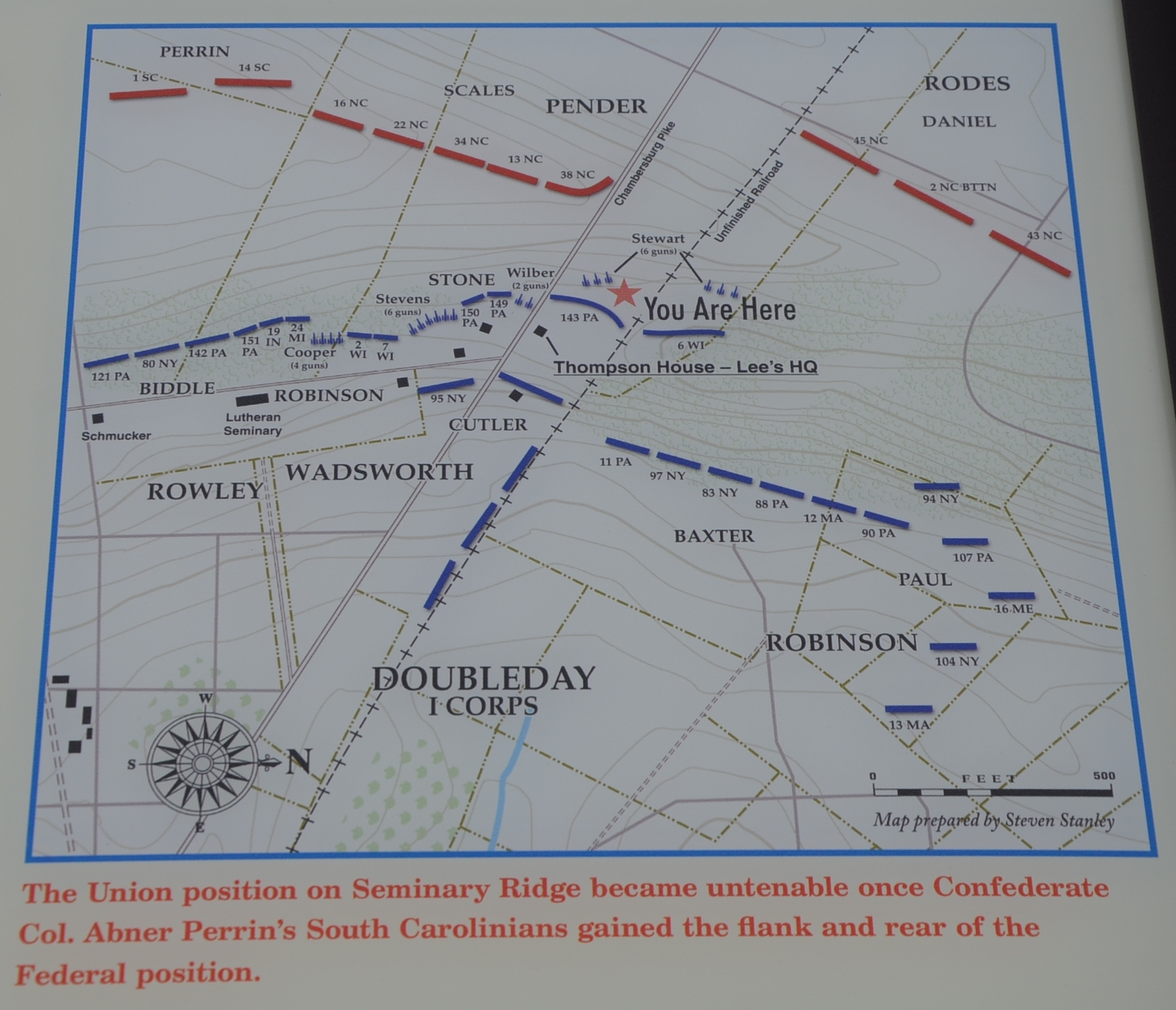 Map of This Position on Seminary Ridge