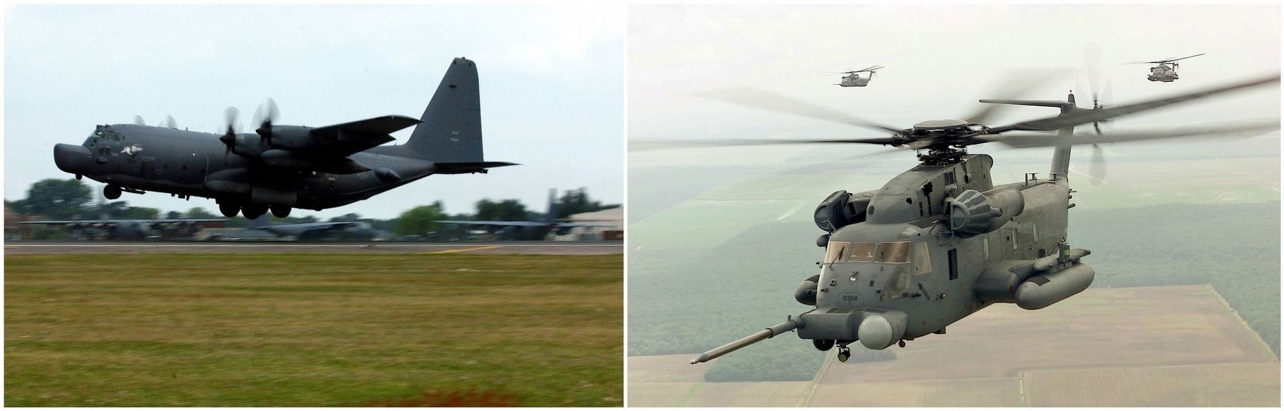 MC-130H (left) and a MH-53J (right). image. Click for full size.