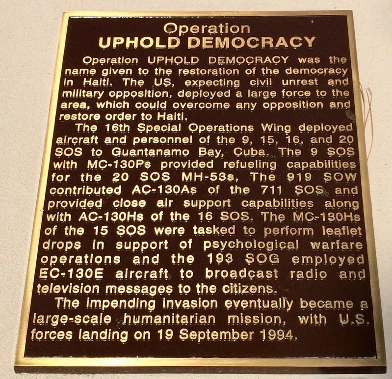 Operation Uphold Democracy Marker image. Click for full size.