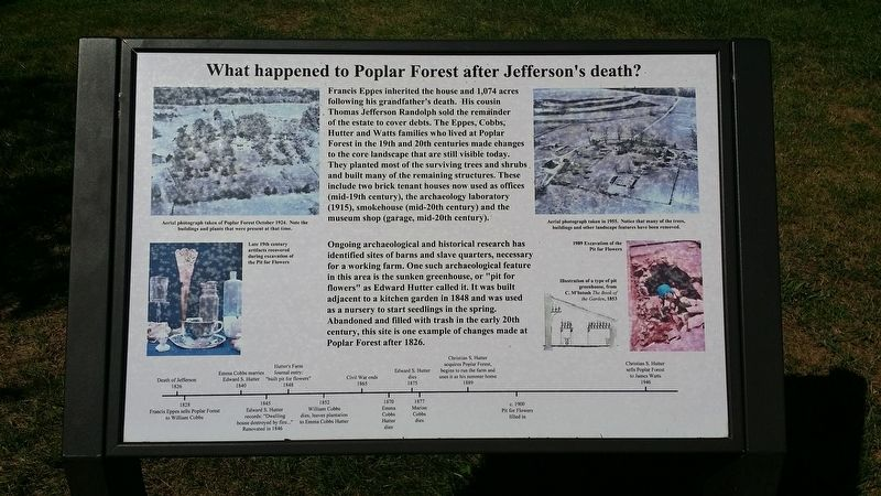 What happened to Poplar Forest after Jefferson's death? Marker image. Click for full size.