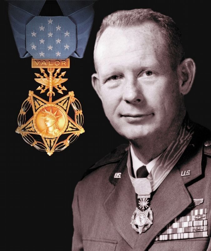 Major Bernard Francis Fisher with Medal of Honor. image. Click for full size.
