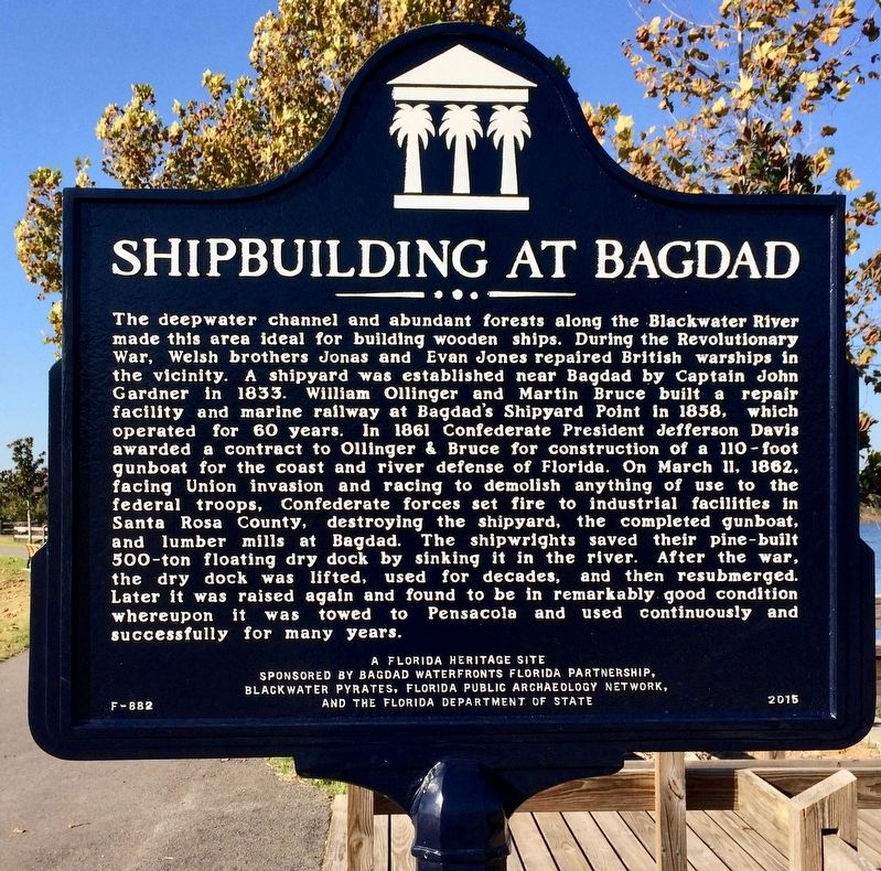 Another nearby historical marker about shipbuilding in Bagdad. image. Click for full size.