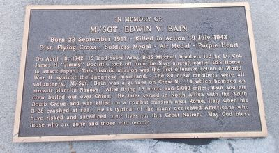 In Memory of M/Sgt. Edwin V. Bain Marker image. Click for full size.