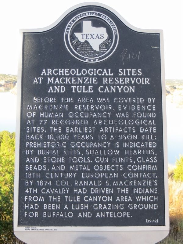 Archeological Sites at Mackenzie Reservoir and Tule Canyon Marker image. Click for full size.
