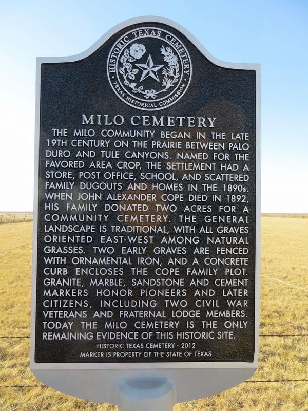 Milo Cemetery Marker image. Click for full size.