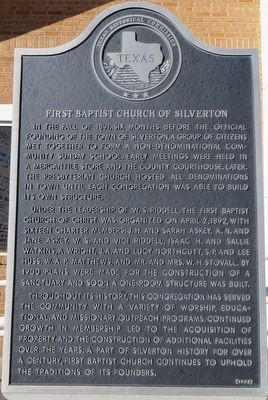 First Baptist Church of Silverton Marker image. Click for full size.