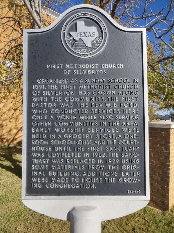 First Methodist Church of Silverton Marker image. Click for full size.