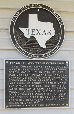 Pleasant Lafayette Crawford House Marker image. Click for full size.