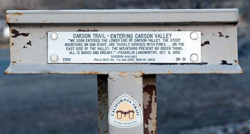 Carson Trail - Entering Carson Valley Marker image. Click for full size.