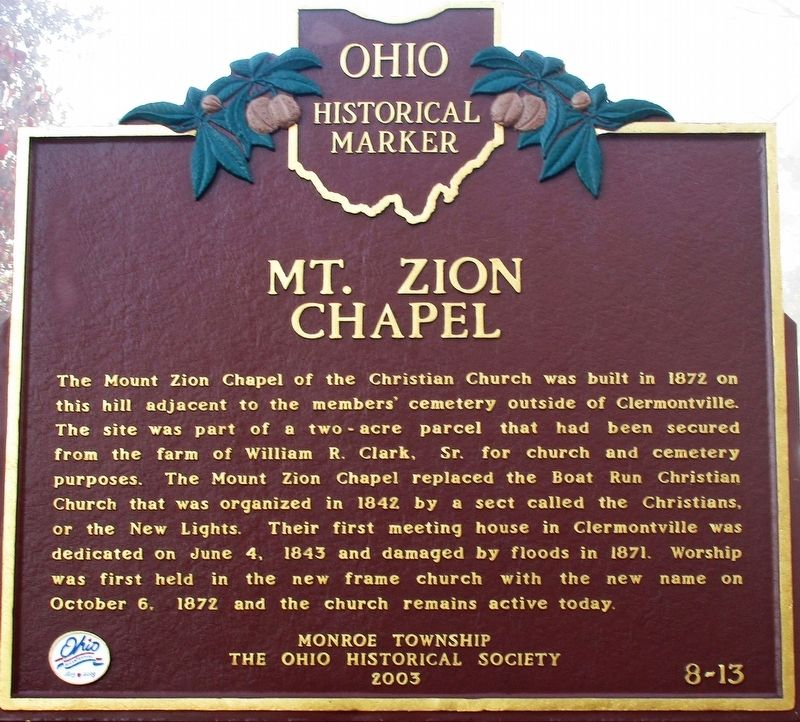 Mt. Zion Chapel Marker image. Click for full size.