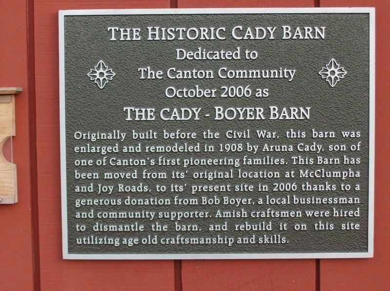 The Historic Cady Barn Marker image. Click for full size.