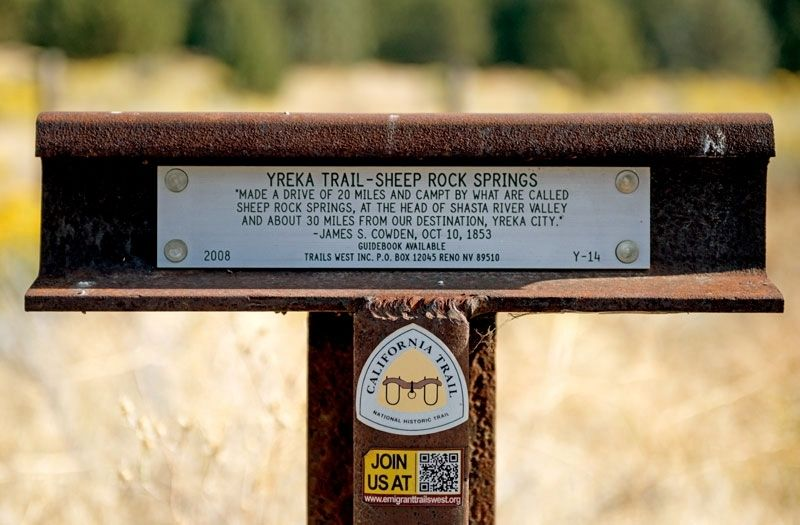 Yreka Trail - Sheep Rock Springs Marker image. Click for full size.